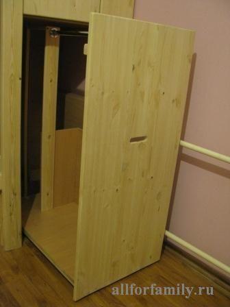 двухъярусная кровать из дерева своими руками: выдвижная секция внизу шкафа
