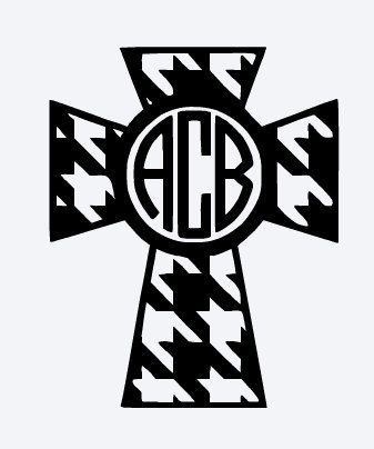 Chevron cross decal. Monogram chevron cross by BayouVinylsAndMore