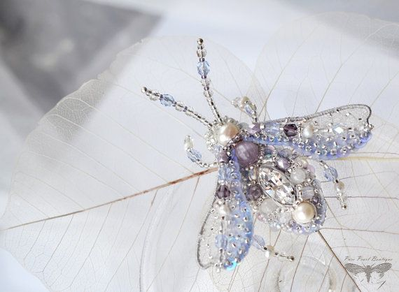 Lavender brooch Beetle Lilac jewelry Insect by PurePearlBoutique