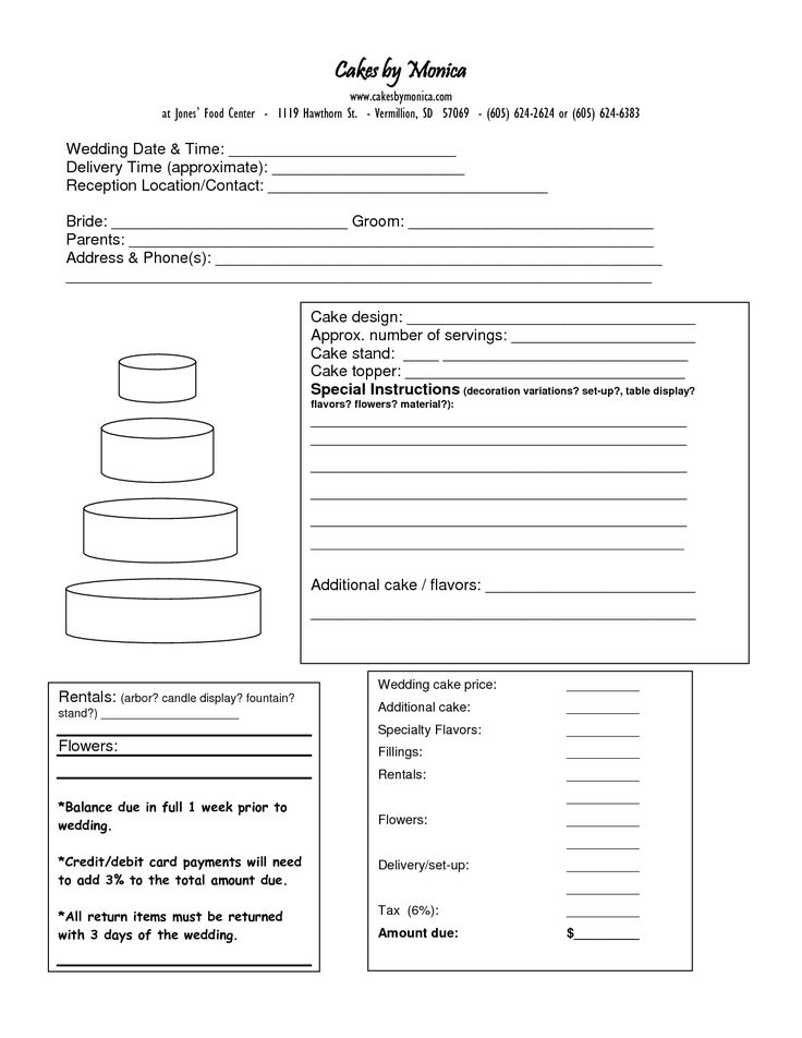 23 best CAKE ORDER FORMS images on Pinterest Cake business, Cake - wedding contract templates