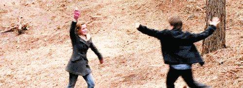 Emma Watson & Daniel Radcliffe High Five-ing after a scene well done-Harry Potter and the Deathly Hallows | Actually one of the cutest things ever.