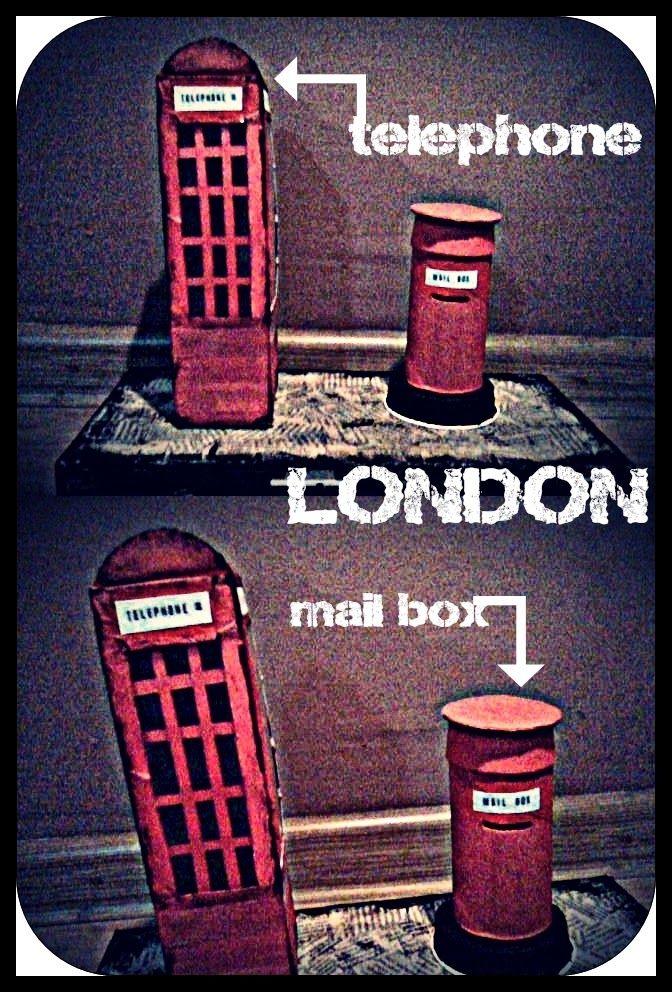 budka telefoniczna i skrzynka na listy LONDON (karton farbyu klej)