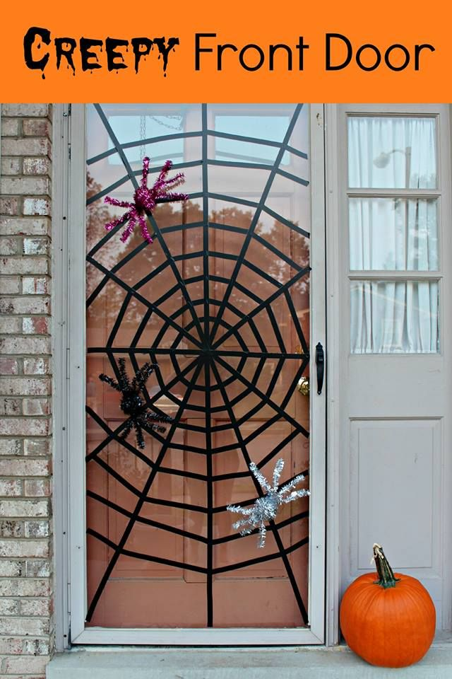 DIY Spider Web Front Door (with washi tape--love it!)