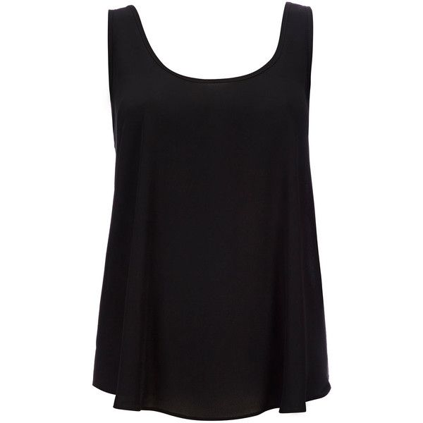 Black Vest Top ($18) ❤ liked on Polyvore featuring tops, shirts, tank tops, tanks, black, summer shirts, loose tank, loose fit shirt, loose tank top and layering shirts