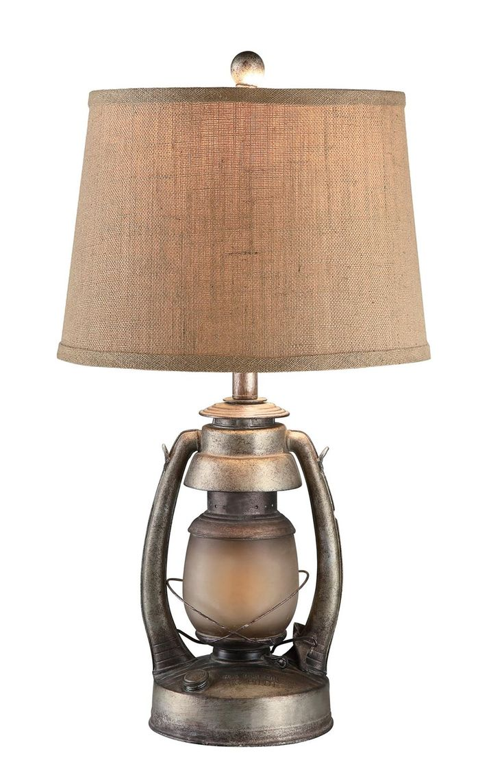 Douglas round dining table rustic finish achica - Oil Lantern Table Lamp