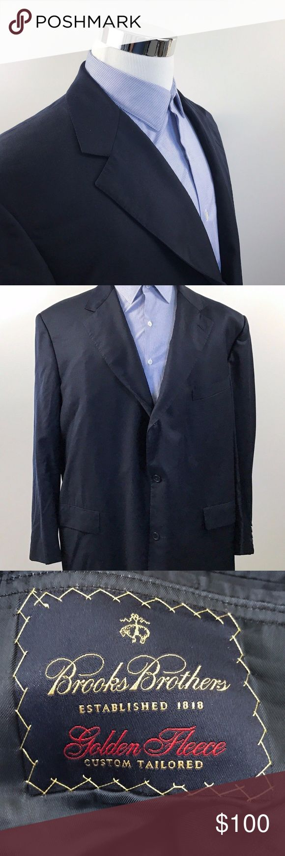 Brooks Brothers 48L Golden Fleece Navy Sport Coat Brooks Brothers Mens 48L Golden Fleece Custom Wool Navy Blue Sport Coat 2 Button  *Note: Please compare to a blazer you already own to assure an accurate fit.  Measurements (inches): Pit to Pit (across the chest): 26 Waist (across mid-section): 26.5 Shoulder (seam to seam): 21.5 Sleeve (shoulder to cuff): 25 Length (top of collar to hem): 34  Condition:  This item is in good pre-owned condition! Free from rips & stains.  All items come from a…