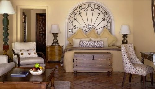 Spanish Style Bedroom with white accents.
