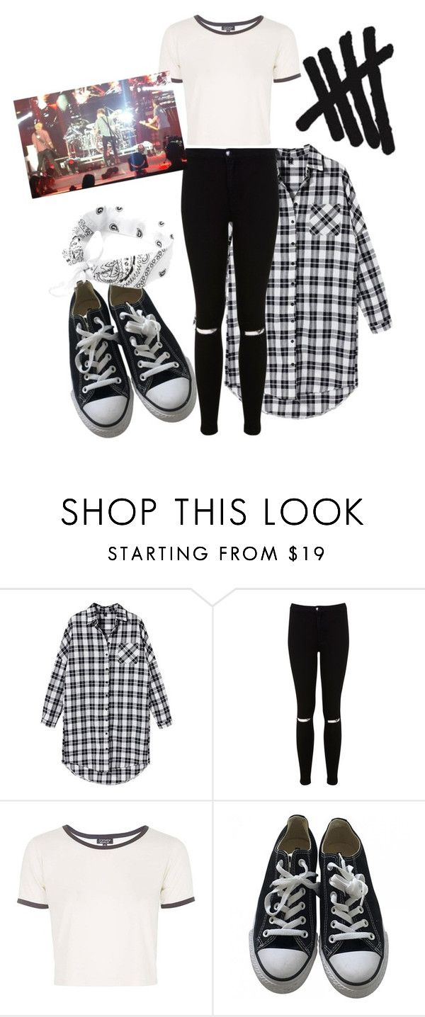 """""""5sos concert - outfit from an experience"""" by claudia-effe ❤ liked on Polyvore featuring Miss Selfridge, Topshop and Converse"""