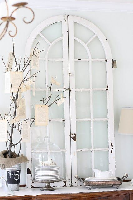 Lovely way to display beautiful old windows.  #summerprojects #DIY