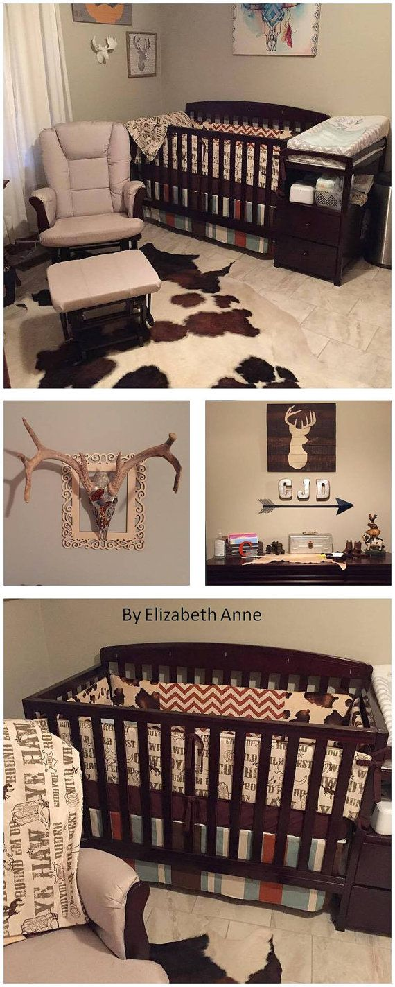 Rustic Western, Cowboy Nursery, Rodeo Baby Bedding. Custom created by Elizabeth Anne. Use coupon code PINTEREST to receive FREE shipping
