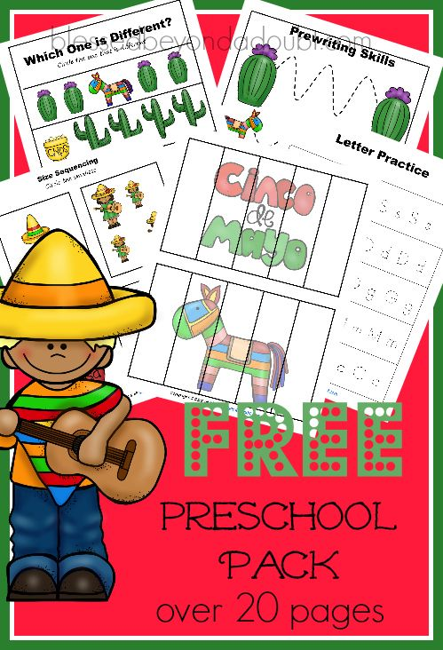 FREE Cinco de Mayo Preschool Pack! Very colorful and vibrant for homeschoolers, daycares, and preschools.