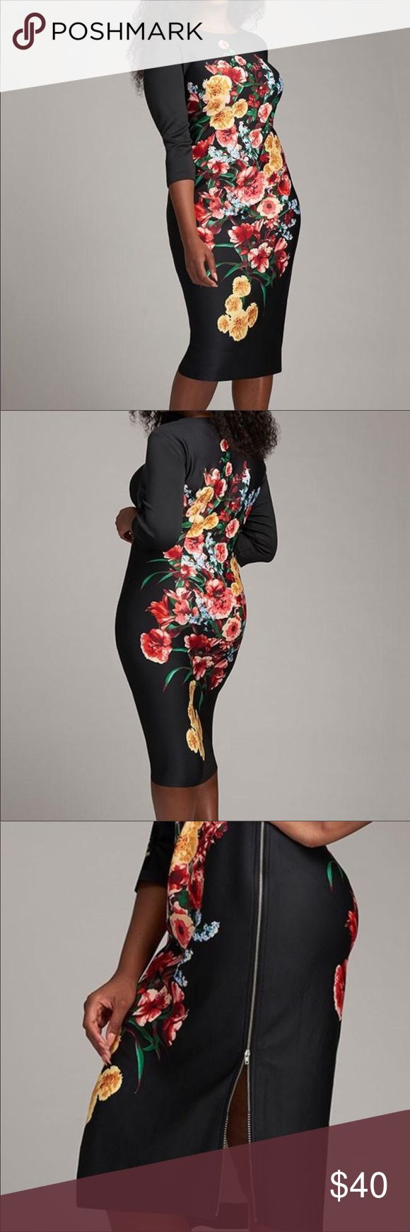 Silhouette shaping floral dress Sexy silhouette shaping dress. Black floral print. Zipper up side lets you show how much skin you want to show. Sleek and slimming 3/4 sleeves. Beautiful dress to go from day to a night out. Dresses Midi