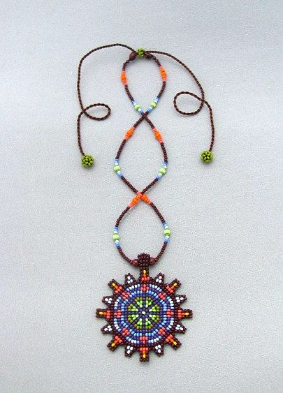 Mandala Necklace Seed Beaded Mandala Flower by HANWImedicineArt