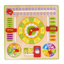 1 Pc Multifunctional Cartoon Wooden Clock Toy Cognitive Calendar Season Date Children Educational Toy Early Learning Puzzle Toys(China)