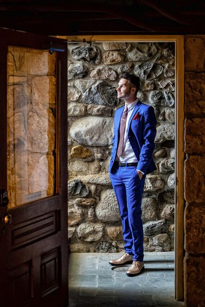 Stylish men's attire idea - bright blue suit and rose gold shoes {William Innes Photography}