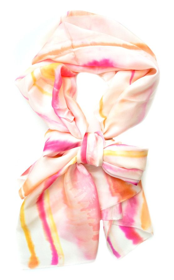 Watercolor Stripe Scarf in Grapefruit. On brand!: Plainmad Watercolor Scarfs, Summer Scarves, Plainmade Watercolor Scarfs, Pretty Colors, Watercolors, Stripes Scarfs, Watercolor Stripes, Silk Scarves, Colors Inspiration
