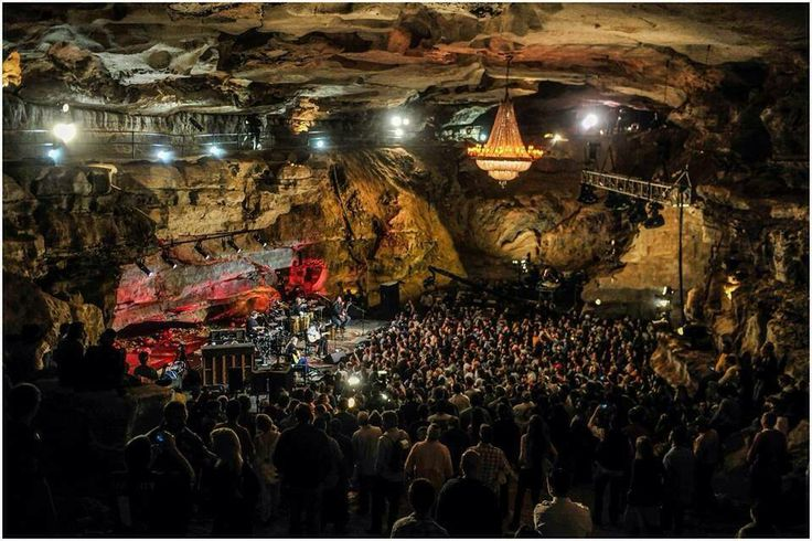 The Volcano Room - one of the most unique concert venues ! Discovered in 1810 in Tennessee - it is a formation inside Cumberland Caverns, the 72nd biggest cave in the known world.