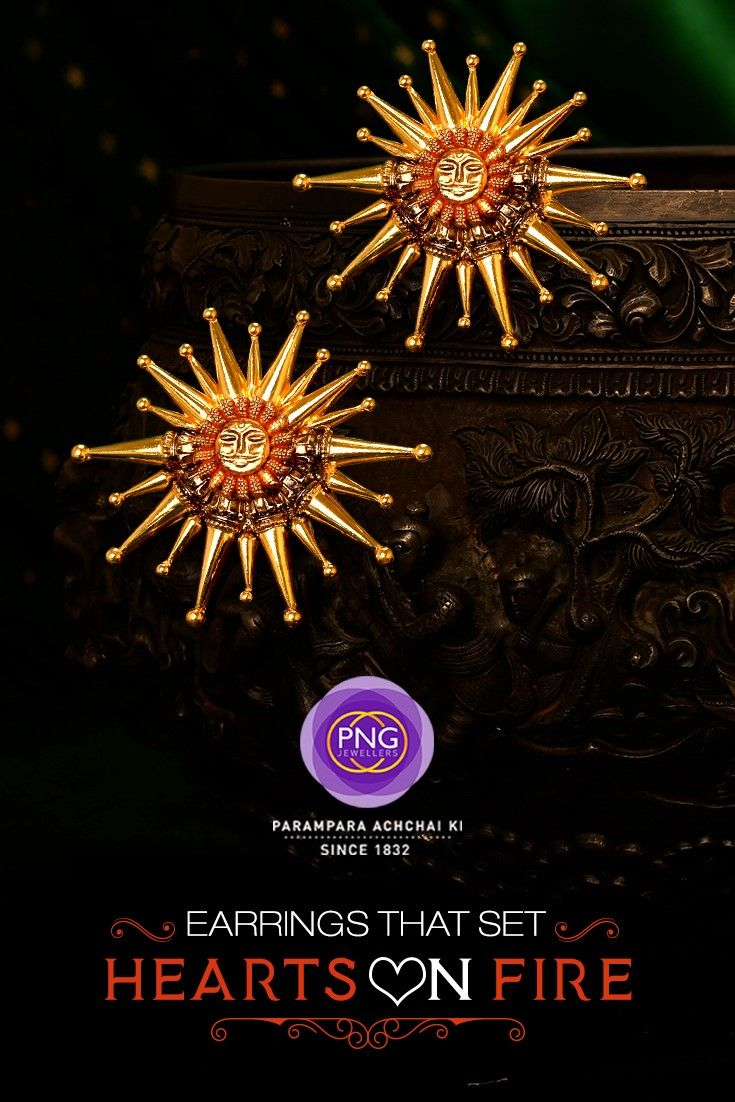 Embellish your ensemble with these ethno-contemporary pair of earrings from #PNGJewelers. #GoldJewelry