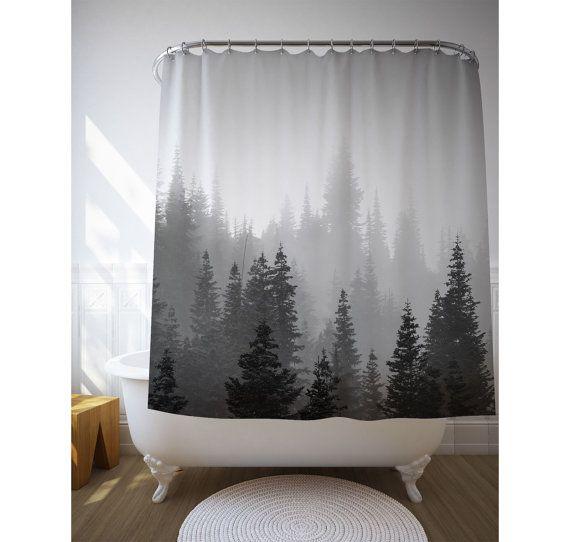 Tree Shower Curtain, Tree Decor, Black White Photo, Landscape Photo, Nature  Decoration, Bath Decor
