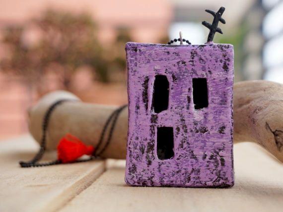 Purple miniature house necklace. Unique and cute!