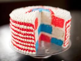 Red, White and Blue Velvet Cakecut out circles and swap within each layer: Cake Recipe, July Cake, Fourth Of July, Red White Blue, Food Blog, Blue Cake, 4Th Of July, Blue Velvet Cakes, Cooking Channel