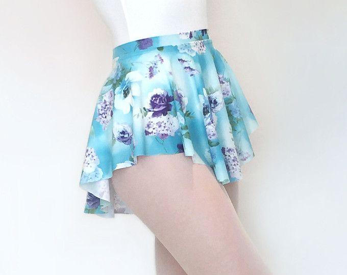 Falda de ballet - azul y púrpura Floral Print SAB falda - danza regalo - Royall ropa - tire en Skate