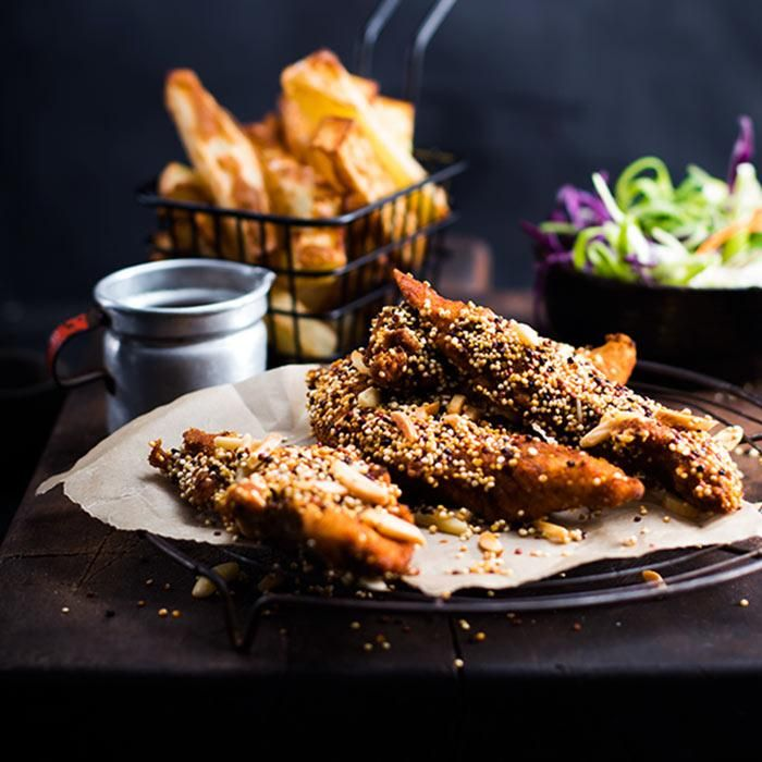 Youfoodz | YFC with Chips & Slaw $9.95 | Feast on quinoa-crusted chicken, baked to perfection with our not-so-secret YF herbs & spices, paired with a crunchy 'slaw, thick-cut chips & classic gravy. | #Youfoodz #HomeDelivery #YoullNeverEatFrozenAgain