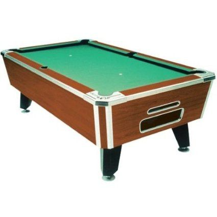 Traditional coin-operated pool table minus the coins! The commercial quality that will supply generations of family fun! Solid, one piece, imported slate. One-piece ball return chute nearly eliminates