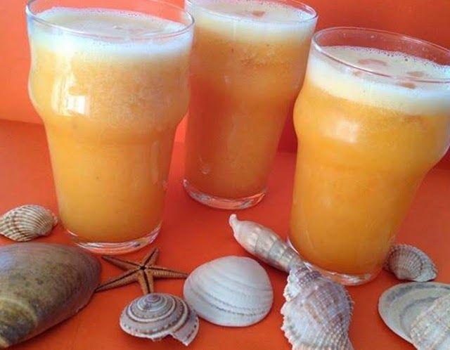 sumo de laranja pêssego e meloa