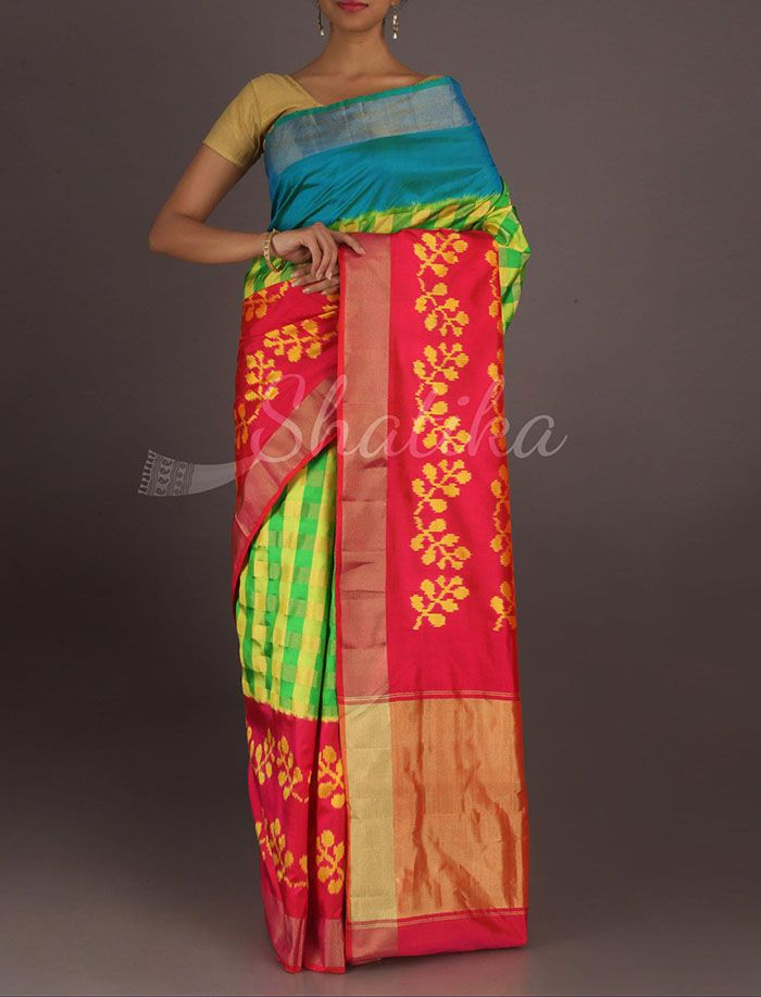 Srilakshmi Checks Splendor Designer Border Ikat Pochampally Silk Saree