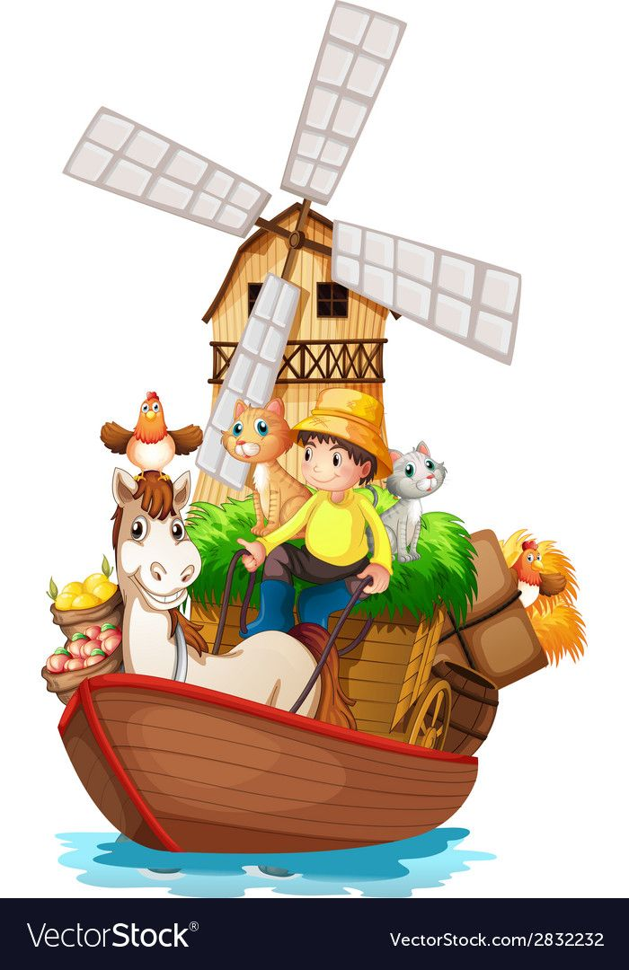 A Boat With Farm Animals And Farm Fruits On A White Background Download A Free Preview Or High Quality Adobe Illustrator Ai Farm Animals Fruits Vector Animals