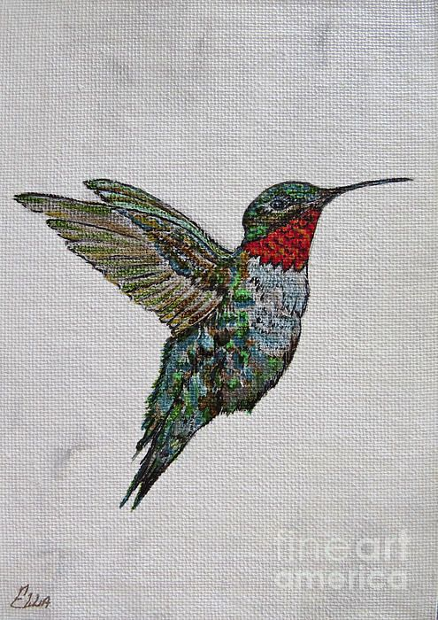 Hummingbird Painting - Flying Solo by Ella Kaye
