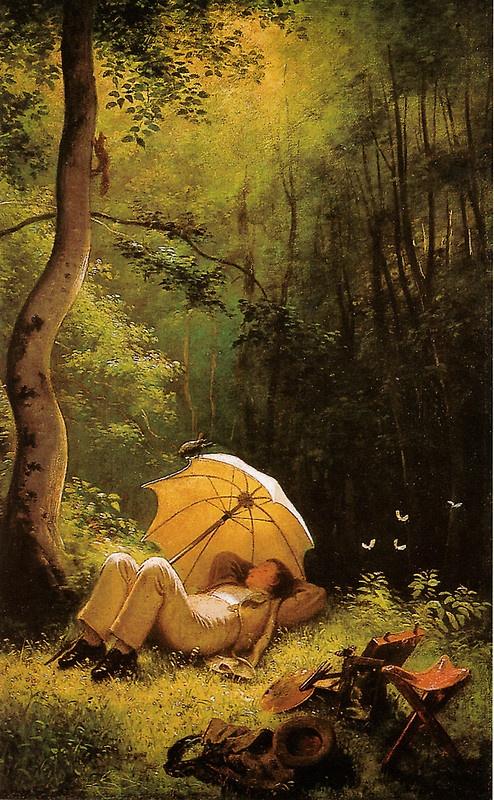 Carl Spitzweg Der Maler auf einer Waldlichtung unter einem Schirm liegend