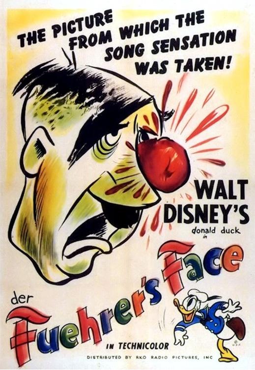 """""""Der Furher's face""""  I film di animazione destinati al grande pubblico avevano spesso lo scopo di """"costruire morale"""".  Durante la seconda guerra mondiale Donald duck in quest'animazione ridicolizza definitivamente il nazional-socialismo, lasciando lo spettatore sollevato anche solo per il fatto di non essere un tedesco in quella Germania sotto la croce uncinata e proprio in quel 1944.  Guarda il cartone nell'area TWWW.TV  (canale Good Old Classic) di PrimoItalia.  Quando vuoi tu, dove vuoi…"""
