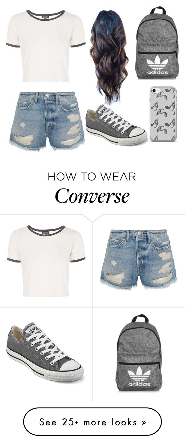 """""""Sin título #138"""" by erikabojorquez on Polyvore featuring Topshop, Frame, Converse, adidas and Music Notes"""