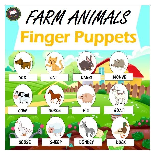 15 Farm Animals Finger Puppets