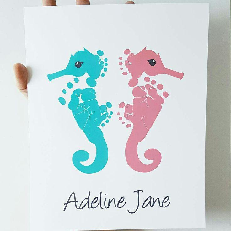 Seahorse Nautical Girls Nursery Art in Coral & Aqua using your Baby's Footprints by PitterPatterPrint via Instagram.