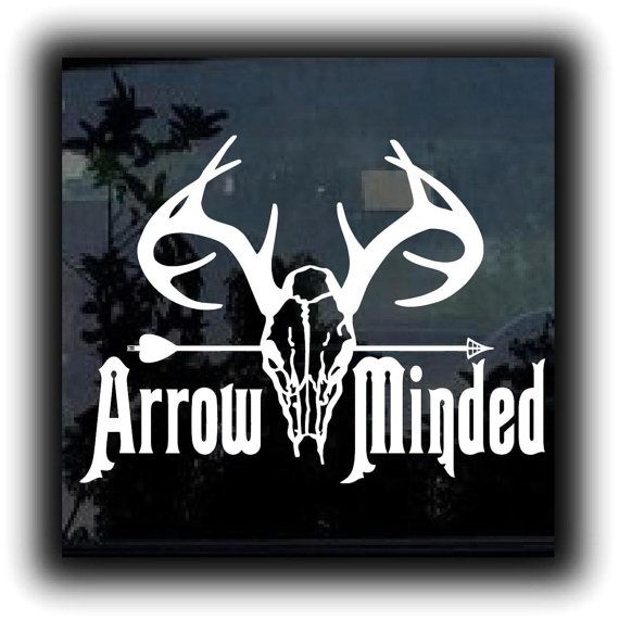 Arrow Minded Bow Hunting  - Custom Window Decal Stickers - Choose Color and Size - **Free Shipping** on Etsy, $5.99