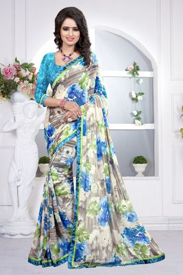 Multi printed georgette saree With Blouse