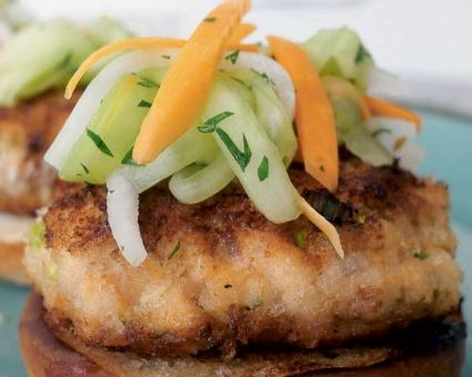 Cilantro-Chile Spiked Cod Burgers Recipe | The Daily Meal