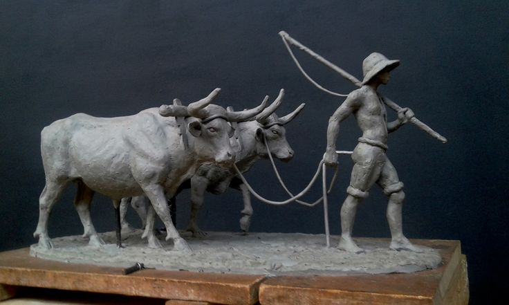 The Front Oxen Clay model