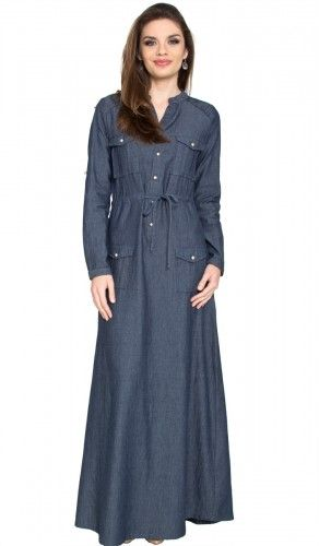Zia Chambray Denim Safari Maxi Dress Abaya with Free Hijab