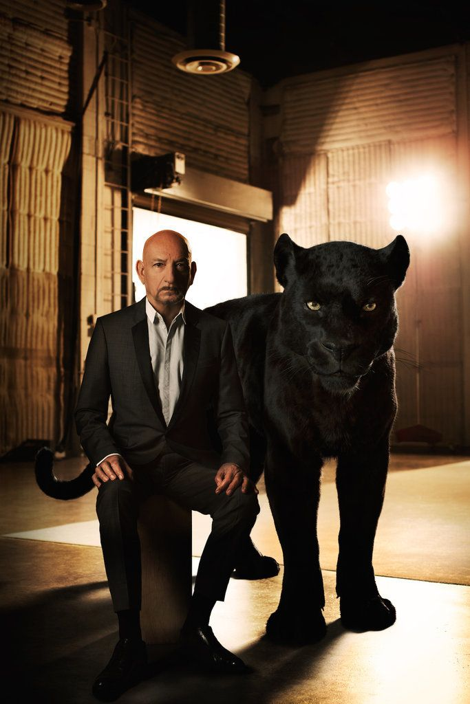 Sir Ben Kingsley with Bagheera ..... The Jungle Book Cast's Photo Shoot With Animals | POPSUGAR Entertainment