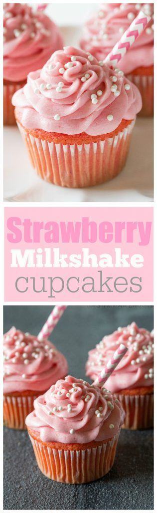 Strawberry Milkshake Cupcakes - bursting with strawberry flavor and so soft! the-girl-who-ate-...