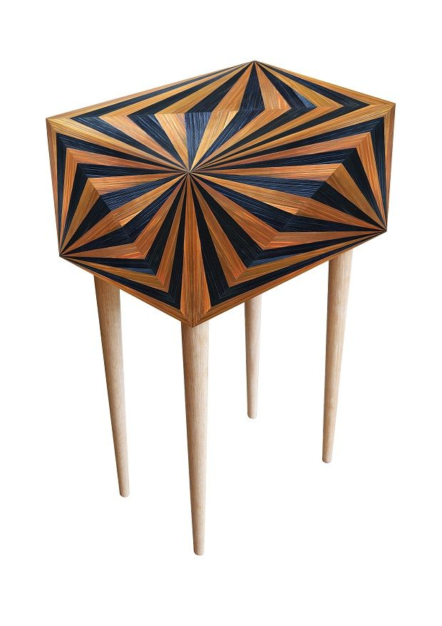 OpArt bedside cabinet - Violeta Galan straw marquetry