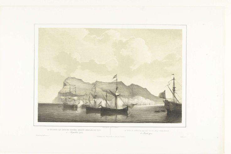Petrus Johannes Schotel | Verovering van Gibraltar door een Engels-Nederlandse vloot, 1704, Petrus Johannes Schotel, Ruurt de Vries, Frans Buffa en Zonen, 1848 - 1855 | De verovering van Gibraltar door een gecombineerd Engels-Nederlandse vloot, 3 augustus 1704. Zeeslag voor de rots van Gibraltar.