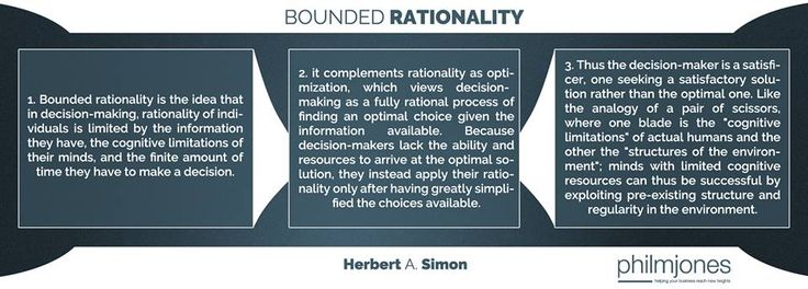 "I came across this theory once again and I thought to share it with you. ""Because #decisionmakers lack the ability and resources to arrive at the optimal #solution, they instead apply their rationality only after having greatly simplified the #choices available"". You should read more on bounded rationality if you find it interesting.  Visit https://www.philmjones.com for more information!"