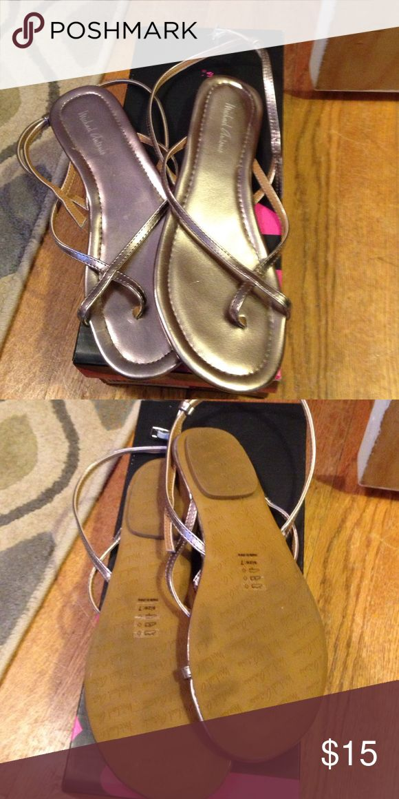 Michael Antonio sandals size 7 Used once on vacation. Michael Antonio pewter sandals size 7 Michael Antonio Shoes Sandals
