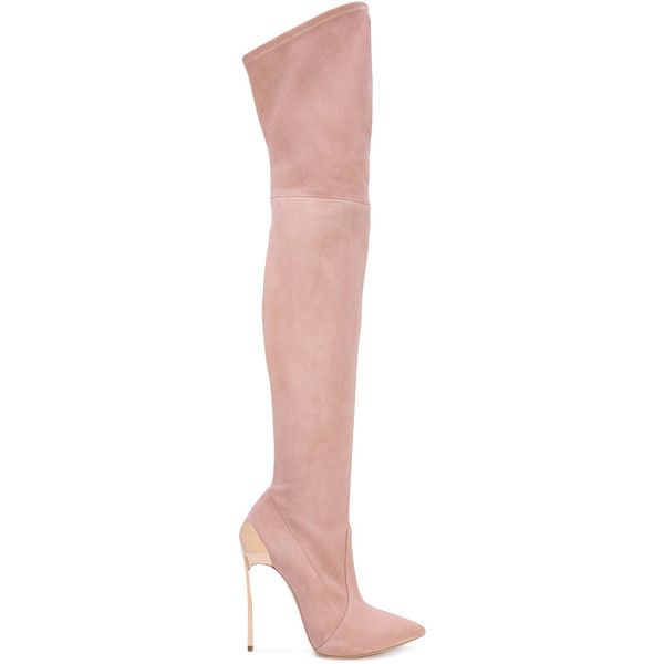 Casadei over-the-knee boots (£1,225) ❤ liked on Polyvore featuring shoes, boots, pink, casadei over the knee boots, over knee leather boots, pink over the knee boots, casadei boots and pink thigh high boots