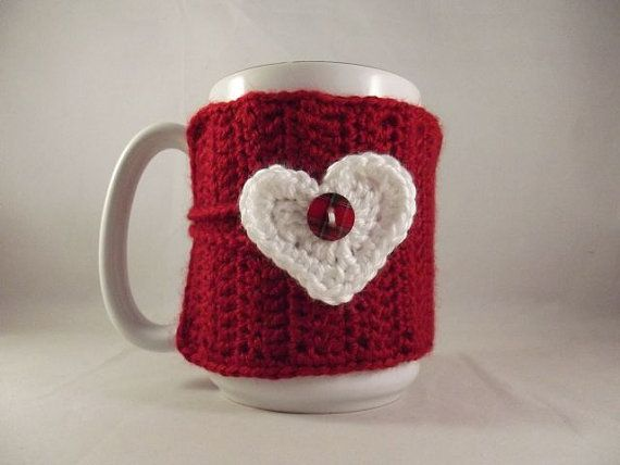 Valentines Day Crochet Red Coffee Mug Cup Cozy with by kokadoodle3, $6.00